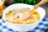 Healthy fish soup made of salmon — ストック写真