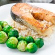 Fried salmon with rice and brussels sprouts — Stock Photo