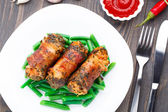 Bacon wrapped cutlet — Stock Photo
