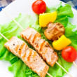 Stock Photo: Grilled salmon and vegetable skewers