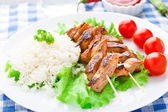Grilled marinated pork with rice — Стоковое фото