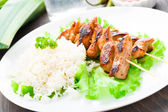 Grilled marinated pork with rice — Stock Photo