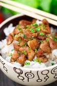 Bowl of rice with meat — Stock Photo
