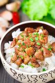 Bol de arroz con carne — Foto Stock