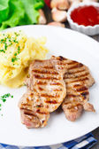Grilled pork with mashed potato — Stock Photo