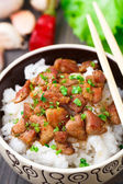Bowl of rice with meat — Stok fotoğraf