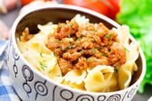 Pasta Bolognese in a bowl — Foto Stock