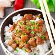 Stock Photo: Bowl of rice with meat