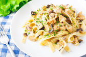 Pasta with chicken and mushroom — Stock Photo