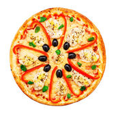 Pizza con pollo, peperone e olive — Foto Stock
