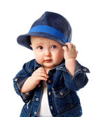 Cute baby boy holding hat — Stock Photo