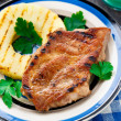 Pineapple grilled pork chop — Stock Photo
