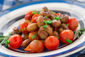 Roasted mushrooms with cherry tomatoes — Stockfoto
