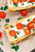 Vegetarian baguette sandwich — Stock Photo