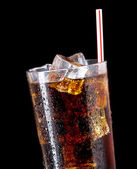 Glass of cola with ice — Stock Photo