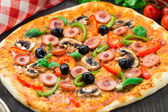 Delicious sausage pizza — Stock Photo