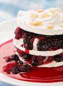 Meringue with berry layers — Stock Photo