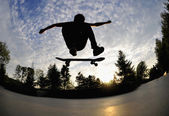 Skateboarding silhouette — Stock Photo