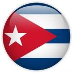 Cuba Flag Glossy Button — Stock Vector