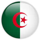 Algeria Flag Glossy Button — Stock Vector