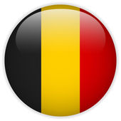 Belgium Flag Glossy Button — Stock Vector