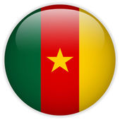 Cameroon Flag Glossy Button — Vector de stock