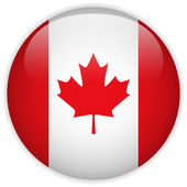 Canada Flag Glossy Button — Stock Vector