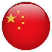 China Flag Glossy Button — Vector de stock