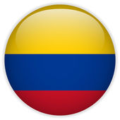 Colombia Flag Glossy Button — Stock Vector