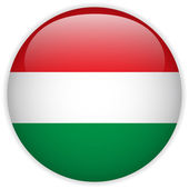 Hungary Flag Glossy Button — Stock Vector