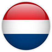Netherlands Flag Glossy Button — Stock Vector