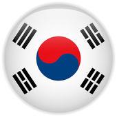 Botão brilhante de bandeira de coreia do sul — Vetorial Stock
