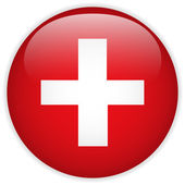 Switzerland Flag Glossy Button — Stok Vektör