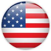 Botón brillante de la bandera de estados unidos — Vector de stock