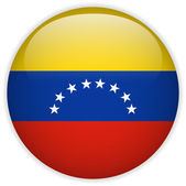 Venezuela Flag Glossy Button — Stock Vector