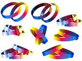 Homo-huwelijk regenboog ringen en armbanden — Stockvector