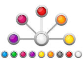 Connection Dots Colorful Circles — Vector de stock