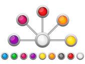 Verbinding stippen kleurrijke cirkels — Stockvector