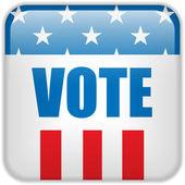 Spojené státy americké volební hlas tlačítko. — Stock vektor
