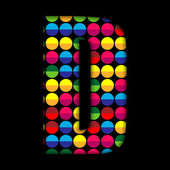 Alphabet Dots Color on Black Background D — Stock Vector
