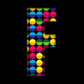 Alphabet Dots Color on Black Background F — Stock Vector