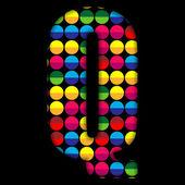 Alphabet Dots Color on Black Background Q — Stock Vector