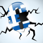 Euro Money Crisis Greece Flag Crack on the Floor — Stock Vector