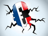 Crise do euro dinheiro bandeira frança crack no chão — Vetorial Stock