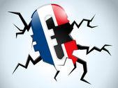Kryzys pieniądze euro flaga francji roztrzaskać na podłodze — Wektor stockowy