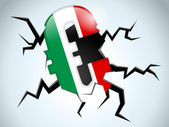 Euro Money Crisis Italy Flag Crack on the Floor — Stock Vector