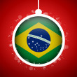 Merry Christmas Red Ball with Flag Brazil — Stock Vector #15761453