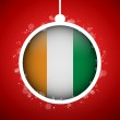 Merry Christmas Red Ball with Flag Ireland — Stock Vector #15761691