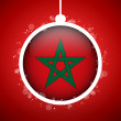 Merry Christmas Red Ball with Flag Morocco — Stock Vector