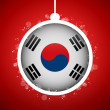 Merry Christmas Red Ball with Flag South Korea — Stock Vector